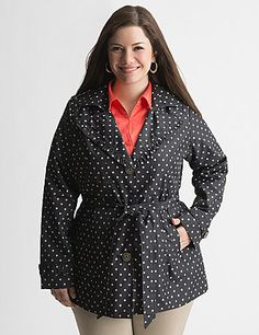 We punched up the timeless trench coat for the season with playful polka dots and a feminine, ruffled collar - how fun! The classic cut is made to flatter with contoured seams, waist-defining belt and vented back. Slash pockets, epaulets and belted cuffs complete the look. Fully lined. Say yes to this sassy Spring essential! sonsi.com