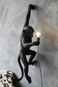 Hanging Monkey Wall Lamp - Black from Rockett St George