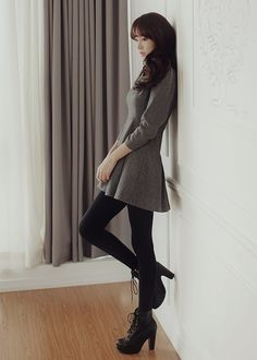 nice Fall dress w/tights and booties... by http://www.globalfashionista.xyz/k-fashion/fall-dress-wtights-and-booties/
