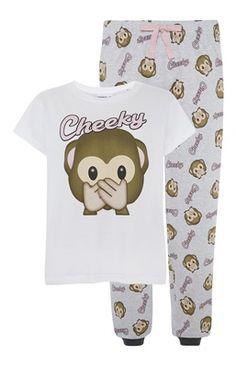 Emoji Monkey Jersey PJ Set