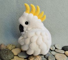 Cockatoo needle felted wool soft sculpture