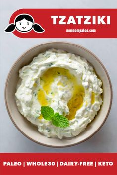 Cut out dairy and missing Tzatziki, the creamy Mediterranean yogurt and cucumber sauce that tastes great slathered on everything? Then whip up this simple vegan, and keto version with coconut yogurt and fresh herbs! Nom Nom Paleo, Tzatziki Sauce, Paleo Whole 30, Whole 30 Recipes, Sauce Recipes, Paleo Recipes, Paleo Menu, Baby Recipes, Dip Recipes