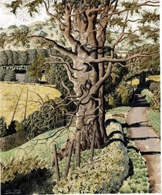 """""""High Summer Pastures"""" by Simon Palmer (watercolour with ink and gouache)"""