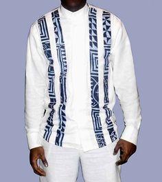 chemise homme longue manche en lin blanc et tissu pagne africain couleur,lin lourd et tissu pagne de très bonne qualité,chemise très originale et vraiment classe,idéale pour to - 9810955