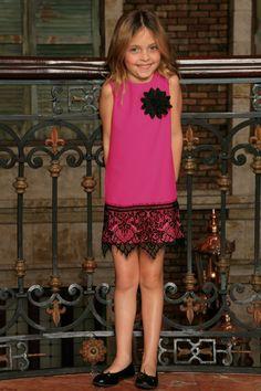 Hot Pink Fuchsia Stretchy Stylish Party Shift Dress With Lace Trim- Girls
