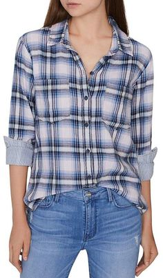 Petite Women's Sanctuary Favorite Boyfriend Plaid Cotton Shirt, Size Medium P - Blue Plaid Shirt Outfits, Plaid Shirt Women, Boyfriend Shirt, Petite Women, Men Looks, Blue Plaid, Shirt Sleeves, Clothes For Women, Shirts