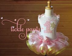 Twinke Twinkle Little Star Birthday Outfit- Pink and sparkle gold- Includes top, tutu and hairbow- Can be made to match your party by TicklePants on Etsy https://www.etsy.com/listing/197027139/twinke-twinkle-little-star-birthday