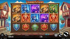 Dragon Horn Slot - Base Gameplay best bonuses waiting for you here Dragon Horns, Fire Dragon, Game Ui Design, Play Slots, Retro Cartoons, Free Slots, Live Casino, Casino Games