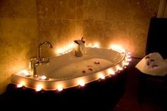 A lovely hot bath with a few candles and my favourite chill out music playing, heaven!