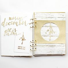 """Heathergw's 2015 December Memories 6x8"""" Album using papers, journal cards and SVG cut files by Paislee Press from the Document Your December releases"""