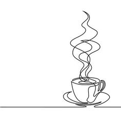 Continuous line drawing of cup of coffee. - Continuous line drawing of cup of coffee. – – Millions of creative photos, vectors, video - Coffee Cup Tattoo, Coffee Cup Drawing, Coffee Tattoos, Coffee Painting, Coffee Doodle, Tea Tattoo, Wine Tattoo, Coffee Artwork, Book Design Graphique