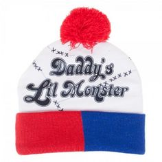7d109ffdcb7 Suicide Squad Harley Quinn Daddy s Lil Monster Cuff Pom Beanie Officially  Licensed DC Comics Product Authentic Suicide Squad Merchandise Acrylic One  Size ...