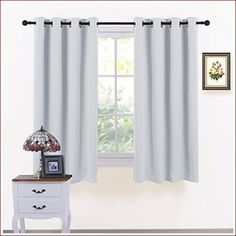 PONY DANCE Window Curtains White - Light Block Curtain Panels Energy Saving Window Drapes/Home Decoration Modern for Kids/Living Room, 52 Wide by 63 inch Long, Greyish White, 2 PCs Home Curtains, Curtains Living Room, Kids Living Rooms, Living Room White, Dark Curtains, Insulated Blinds, Curtains, Darkening Drapes, White Curtains