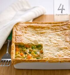 Amazing recipe for a quick and easy dinner! I always double the ingredients and make a second to freeze - Chicken Pie Easy Chicken Pot Pie, Cream Of Chicken Soup, Chicken Recipes, Shredded Bbq Chicken, Great Recipes, Favorite Recipes, 4 Ingredient Recipes, Good Food, Yummy Food