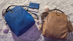 """GREEK SPIRIT Inspired by the sea`s deep blue and Greek island`s white, our new 'Greek Spirit' collection will virtually tour you to the Aegean and Ionian islands. The slogan of the line is """"My Greek Island Home"""" and """"Olive Branch with a Mediterranean Flair"""". Stunning handmade engraved details and prints on bags and wallets embellish our new collection.  www.doca.gr #greekspirit #greek #island #blue #fashion #patterns Island Blue, Fashion Patterns, Greek Islands, Blue Fashion, Deep Blue, Slogan, Leather Backpack, Fashion Backpack, Wallets"""