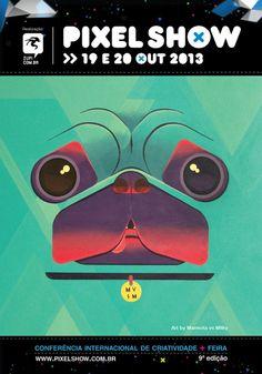 Postal divulgado pela MiCA para o Pixel Show, que acontecerá no Clube Hebraica nos dias 19 e 20 de outubro.