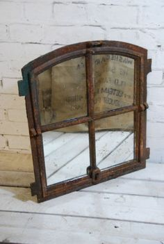 VINTAGE FRENCH DUTCH FACTORY WAREHOUSE INDUSTRIAL CAST IRON WINDOW MIRRORS 1900 in Antiques, Antique Furniture, Mirrors, 20th Century | eBay