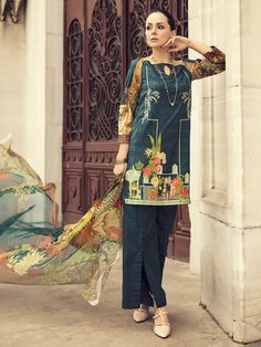India & Pakistan Designer Pakistani Net Linen Salwar Kameez With Khussa Suit Eid Party Mehndi Clear And Distinctive Clothing, Shoes & Accessories