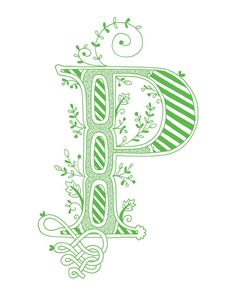 Hand drawn monogrammed print, 8x10, the Letter P, in the color green. $15.00, via Etsy.