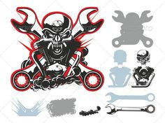 Bikers Symbols Set #GraphicRiver Available ai-10, cdr-12 and eps-8 vector formats separated by groups for easy edit Also you can check at my Collections: Vector Cartoon Cars Vector Cartoon Trucks Detailed Vector Cars modern and retro Detailed Vector Trucks Vans Tractors and Pickups Detailed Vector realistic and cartoon styled Buses Vector aircrafts, airplanes, retro, modern, blueprints, silhouettes and aerial backgrouds Detailed vector train illustrations and Detailed 3D model locomotive…