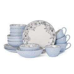 Shop for Pfaltzgraff Gabriela Gray Stoneware 16 Piece Dinnerware Set. Get free delivery On EVERYTHING* Overstock - Your Online Kitchen & Dining Outlet Store! Get in rewards with Club O! Stoneware Dinnerware Sets, China Dinnerware, Tableware, Kitchenware, Casual Dinnerware, Vintage Dinnerware, Farmhouse Dinnerware, Serveware, Bleu Indigo