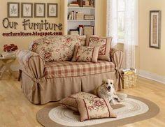Risultati immagini per fundas para sofas Sofa Protector, Stone Interior, Ottoman Sofa, Furniture Update, Diy Sofa, Couch Covers, Shabby Vintage, Dining Table Chairs, Sofa Set