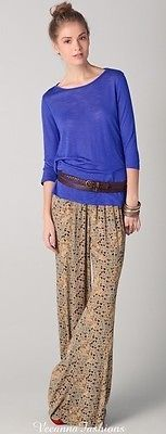 Free People Wide Leg Floral Print Pullover Pull on Pants size Medium!