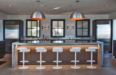 wohnideen küche stahl fronten arbeitsplatten design offen | Küche ...