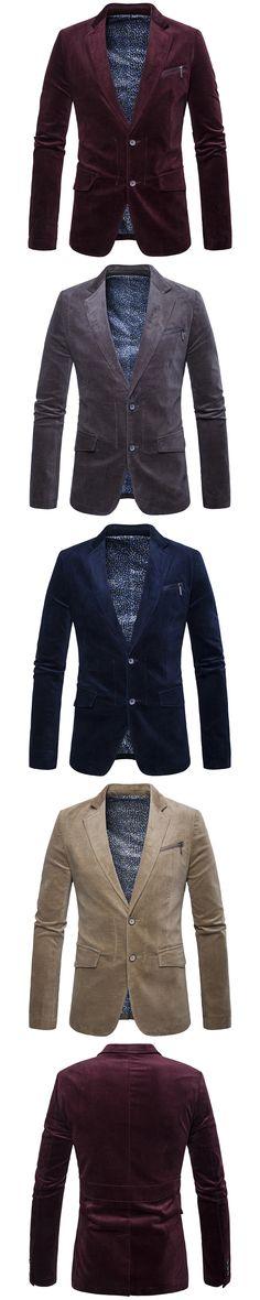 2017 Casual hot sale  Products  Autumn Corduroy casual Man's Suit Korean slim navy blue  Dark grey khaki   men blzaer 27703