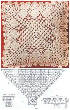 19 Ideas For Crochet Pillow Case Beautiful Crochet Stitches Patterns, Crochet Chart, Filet Crochet, Crochet Motif, Irish Crochet, Crochet Designs, Crochet Doilies, Knitting Patterns, Crochet Pillow Cases