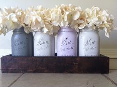 Not these colors but like the idea - Rustic Mason Jar and wood box table Centerpiece wedding shabby chic distressed vase GREY/PURPLE Wooden Box Centerpiece, Wedding Table Centerpieces, Shabby Chic Kitchen, Shabby Chic Decor, Rustic Mason Jars, Rustic Chic, Rustic Decor, Do It Yourself Home, Mason Jar Crafts