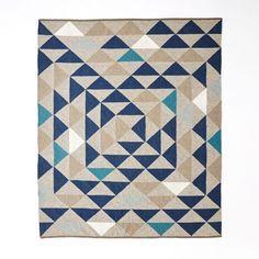 Framed Triangles Wool Kilim Rug, 9'x12', Midnight