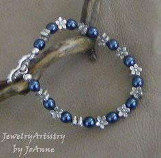 Bracelet Navy Blue & Silver Flowers by JewelryArtistry on Etsy, $25.00