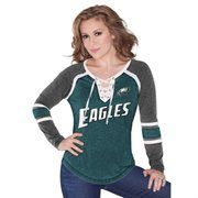 Philadelphia Eagles Touch by Alyssa Milano Women's Pick Six Long Sleeve T-Shirt – Midnight Green