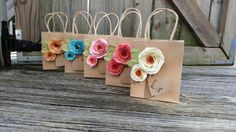 Kraft gift bags. Shabby chic. Paper flowers. Gift bags. YOUR