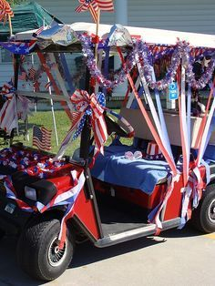 fourth of july parade float ideas 4th Of July Parade, Fourth Of July Decor, 4th Of July Decorations, July 4th, Bike Parade, Patriotic Crafts, Patriotic Party, Golf Carts, Holiday Fun