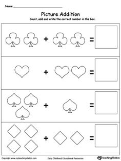 Addition With Pictures: Shapes: Learn addition by counting the pictures, this simple yet affective worksheet will help your child develop their beginning math skills.