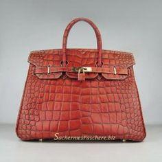 Sacs Hermès Pas Cher Birkin 35cm Crocodile Veins Cuir Sac Foncé Orange 6089  Hermes Bags, 9e57eb3cb67
