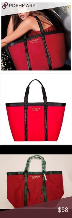 ▫️Victoria s Secret Large Red Tote This is a Victoria s Secret 2017 Limited  Edition Red Studded Fringe Tote Bag a62f6ef46765e