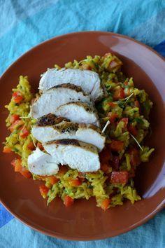 Pittige rijstsalade met kip - 9 SmartPoints per portie bij Weight Watchers.
