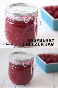 Homemade raspberry freezer jam is so easy to make! And it tastes absolutely delicious. Click through for the easy recipe and step by step instructions. Freezer Jam Recipes, Crockpot Dessert Recipes, Jelly Recipes, Vegan Recipes Easy, Drink Recipes, Raspberry Freezer Jam, Raspberry Recipes, Raspberry Jelly Recipe, Wine Jelly