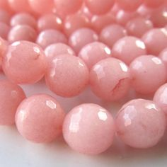 Jade Beads 8mm Rose Pink Candy Faceted Rounds -  10 Pieces