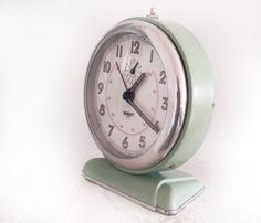 1950 large French vintage alarm clock JAPY, made in France, light green