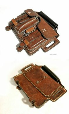 Leather Expedition Bag by Leon Litinsky. Leather Art, Custom Leather, Leather Design, Leather Holster, Leather Pouch, Leather Tooling, Cool Gear, Leather Pattern, Leather Projects