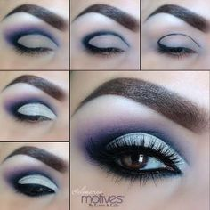 Khol Eyeliner in black to map out your cut crease Onyx eyeshadow to help blend the purple from the Fall/Winter 2012 collection blend out the black shadow Breaking Dawn eyeshadow blend the darker Beautiful Eye Makeup, Pretty Makeup, Love Makeup, Beautiful Eyes, Makeup Looks, Simple Makeup, Awesome Makeup, Natural Makeup, Beauty Make-up