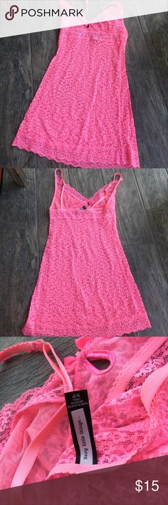 Victoria's Secret mesh lingering Cute hot pink mesh lingerie nightie dress! Only worn once in excellent condition. Very fitting and would fit an xs or petite small very well Victoria's Secret Intimates & Sleepwear Chemises & Slips
