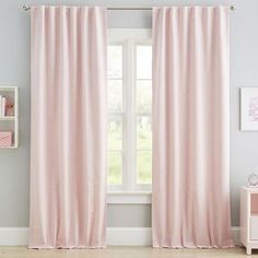 Exciting blackout drapes - kindly visit our website for many more schemes! Blush Curtains, Drapes And Blinds, Pink And White Curtains, Nursery Curtains Girl, Teen Curtains, Diy Curtains, Nursery Room, Bed Room, Houses