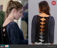 Kara's crochet back sweatshirt on Red Band Society.  Outfit Details: http://wornontv.net/40795/ #RedBandSociety