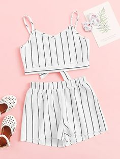 To find out about the Girls Knot Back Striped Cami Top & Shorts Set at SHEIN, part of our latest Girls Two-piece Outfits ready to shop online today! Cute Teen Outfits, Kids Outfits Girls, Teenager Outfits, Cute Summer Outfits, Pretty Outfits, Stylish Outfits, Spring Outfits, Cool Outfits, Stylish Boys