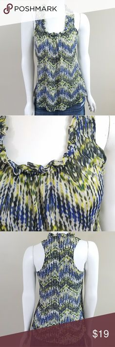 "Sweet Pea Tank Sweet Pea Printed Tank.  Colors are blue, yellow/green, and faded black.  Size small.  2 layers of lightweight fabric, ruffles neckline, slight racerback, and lots of stretch. 16"" across the bust.   25"" long.  100% nylon. Sweet Pea Tops Tank Tops"